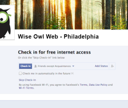 Facebook Check-in Gives Customers Access To Your Wifi
